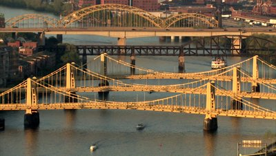stock-footage-the-three-sisters-bridges-spanning-the-allegheny-river-in-pittsburgh-pennsylvania